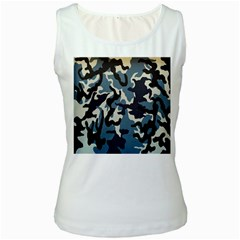 Blue Water Camouflage Women s White Tank Top