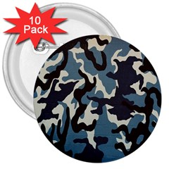 Blue Water Camouflage 3  Buttons (10 pack)