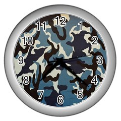 Blue Water Camouflage Wall Clocks (Silver)