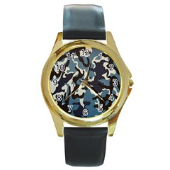 Blue Water Camouflage Round Gold Metal Watch