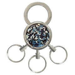 Blue Water Camouflage 3-Ring Key Chains