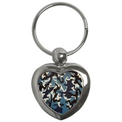 Blue Water Camouflage Key Chains (Heart)
