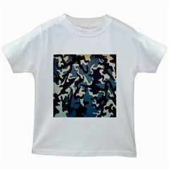 Blue Water Camouflage Kids White T-Shirts