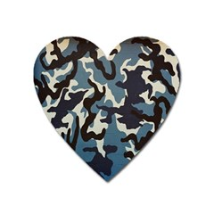Blue Water Camouflage Heart Magnet