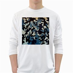 Blue Water Camouflage White Long Sleeve T-Shirts