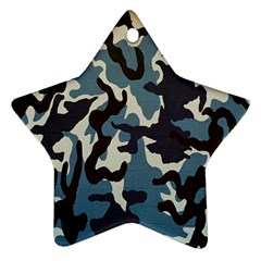 Blue Water Camouflage Star Ornament (two Sides)