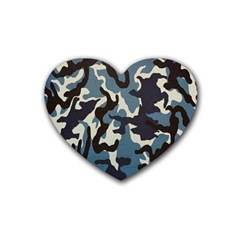 Blue Water Camouflage Rubber Coaster (Heart)