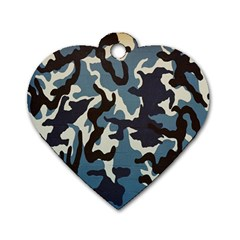 Blue Water Camouflage Dog Tag Heart (One Side)