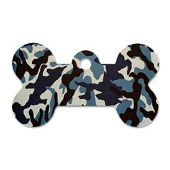 Blue Water Camouflage Dog Tag Bone (One Side)