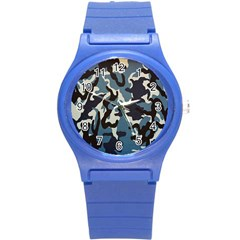 Blue Water Camouflage Round Plastic Sport Watch (S)