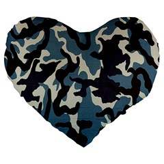 Blue Water Camouflage Large 19  Premium Heart Shape Cushions