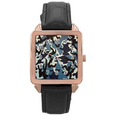 Blue Water Camouflage Rose Gold Leather Watch