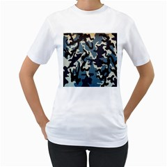 Blue Water Camouflage Women s T-Shirt (White)