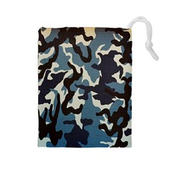 Blue Water Camouflage Drawstring Pouches (large)