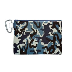 Blue Water Camouflage Canvas Cosmetic Bag (M)