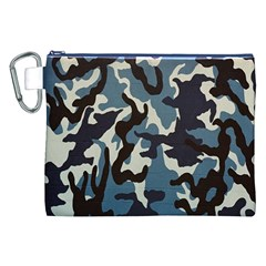 Blue Water Camouflage Canvas Cosmetic Bag (xxl)