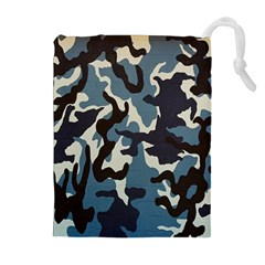 Blue Water Camouflage Drawstring Pouches (Extra Large)
