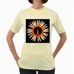 Candle Ring Flower Blossom Bloom Women s Yellow T-Shirt