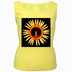 Candle Ring Flower Blossom Bloom Women s Yellow Tank Top