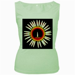 Candle Ring Flower Blossom Bloom Women s Green Tank Top