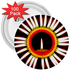 Candle Ring Flower Blossom Bloom 3  Buttons (100 pack)