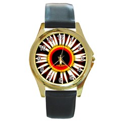 Candle Ring Flower Blossom Bloom Round Gold Metal Watch