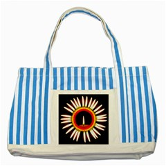 Candle Ring Flower Blossom Bloom Striped Blue Tote Bag
