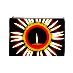 Candle Ring Flower Blossom Bloom Cosmetic Bag (Large)