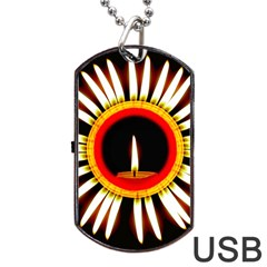 Candle Ring Flower Blossom Bloom Dog Tag USB Flash (One Side)