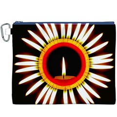 Candle Ring Flower Blossom Bloom Canvas Cosmetic Bag (XXXL)