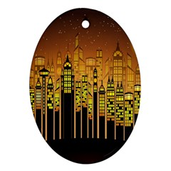 Buildings Skyscrapers City Ornament (Oval)