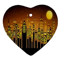 Buildings Skyscrapers City Ornament (Heart)