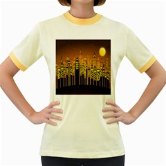 Buildings Skyscrapers City Women s Fitted Ringer T Shirts