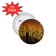 Buildings Skyscrapers City 1 75  Buttons (10 Pack)