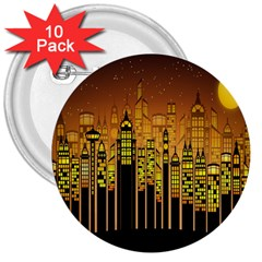 Buildings Skyscrapers City 3  Buttons (10 pack)