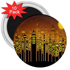 Buildings Skyscrapers City 3  Magnets (10 pack)