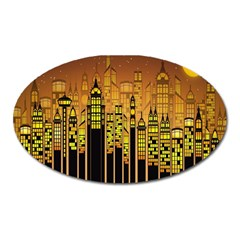 Buildings Skyscrapers City Oval Magnet