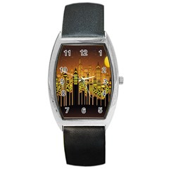 Buildings Skyscrapers City Barrel Style Metal Watch