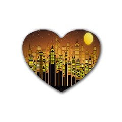 Buildings Skyscrapers City Rubber Coaster (Heart)