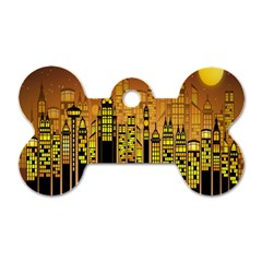 Buildings Skyscrapers City Dog Tag Bone (One Side)