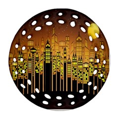 Buildings Skyscrapers City Round Filigree Ornament (Two Sides)
