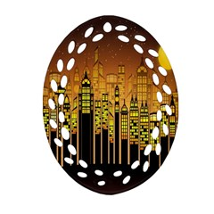 Buildings Skyscrapers City Ornament (Oval Filigree)