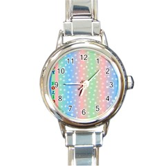 Christmas Happy Holidays Snowflakes Round Italian Charm Watch