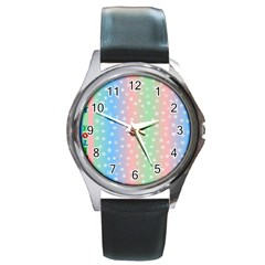 Christmas Happy Holidays Snowflakes Round Metal Watch