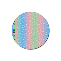 Christmas Happy Holidays Snowflakes Rubber Round Coaster (4 pack)