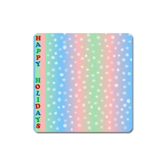 Christmas Happy Holidays Snowflakes Square Magnet