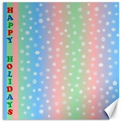 Christmas Happy Holidays Snowflakes Canvas 20  x 20