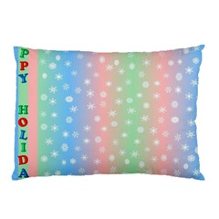 Christmas Happy Holidays Snowflakes Pillow Case