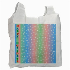 Christmas Happy Holidays Snowflakes Recycle Bag (One Side)