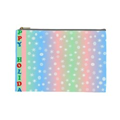 Christmas Happy Holidays Snowflakes Cosmetic Bag (Large)